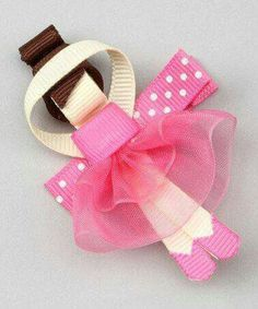 Another great find on Pink Ballerina Hair Clip by Bubbly Bows Ribbon Hair Clips, Hair Ribbons, Ribbon Art, Diy Hair Bows, Diy Bow, Ribbon Crafts, Ribbon Bows, Diy Crafts, Ballerina Hair