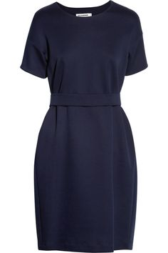 Navy blue and stretch jersey: a long time friend at the office  #workwear #officefashion #sale  Jil Sander | Stretch-jersey dress | NET-A-PORTER.COM