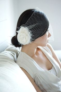 HOLLY and BIRDCAGE veil bridal fascinator (via percyhandmade on Etsy)