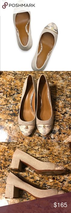 """Tory Burch Ethel Linen Cap-Toe Shoes sz10 Linen upper with golden hardware. Round snake-print leather cap toe. Double-T logo medallion details toe. Padded leather footbed. Leather lining and sole. 2 1/4"""" covered block heel. """"Ethel"""" is made in Brazil.   Excellent condition only wear is on the sole. Size10. No box. Tory Burch Shoes"""