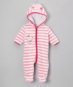 Take a look at this Pink Stripe Kitty Fuzzy Footie - Infant by Absorba on #zulily today!