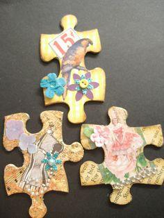 Altered Puzzle Pieces Puzzle Piece Crafts, Puzzle Art, Puzzle Pieces, Collage Art Mixed Media, Mixed Media Canvas, Puzzle Jewelry, Arts And Crafts, Paper Crafts, Mixed Media Jewelry