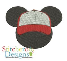Mickey Mouse Baseball Hat Filled applique embroidery design.