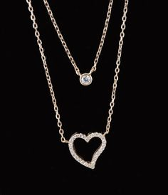 Sterling Silver  Sparkling Heart Two Tier Pendant by deemoda