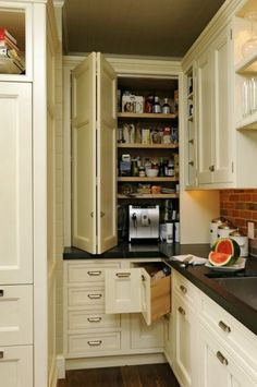 Corner drawers for extra storage, and bi-fold door to conceal extra pantry area. (idea).