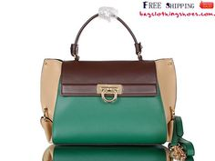 Ferragamo Sofia Satchel Bag Leather Cocoa/Green 3988