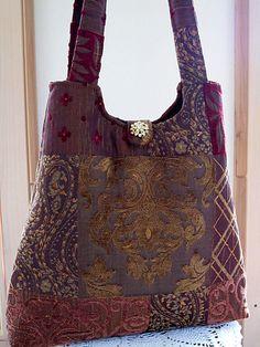 Tote Market Craft Bag Tapestry Vintage Rhinestone Button | Flickr - Photo Sharing!