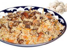 вегетарианский плов с грибами и морковью