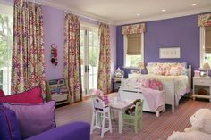 Love love love the wall colors and purples in the room with pink accents!!!