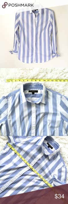 HP 🍌Banana Republic Riley Shirt Striped with Bows 🍌Banana Republic Riley Shirt Striped with Bows Size 4 Bows on cuffs of sleeves  Striped Fitted Excellent pre-owned condition  🔺Measurements provided as a courtesy only, not a guarantee of fit   ▫️Measurements in photos (laying flat and are approximate) ▫️Materials/Care in photos  💜My home is smoke and pet free Banana Republic Tops Button Down Shirts