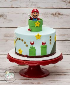 super mario cake ~ super mario bros - super mario bros party ideas - super mario cake - super moist banana bread - super m - super mario - super mario birthday party - super m kpop Super Mario Bros, Super Mario Torte, Mario Bros Cake, Luigi Cake, Super Mario Cupcakes, Mario Birthday Cake, Birthday Cake Kids Boys, Super Mario Birthday, Birthday Parties