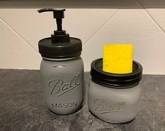 Painted mason jar sponge and soap dispenser set for the kitchen