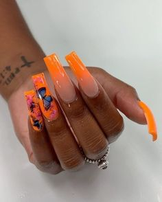 Orange Acrylic Nails, Fall Acrylic Nails, Acrylic Nail Designs, Long Nail Designs, Autumn Nails, Purple Nails, Art Designs, Drip Nails, Gel Nails