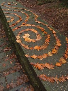 Great example of Nature Art - Take your art class outside this fall to experiment with shape, colour and form in nature Landart - Leave Helixes by McMuth Land Art, Art Et Nature, Nature Crafts, Natural Forms, Natural Materials, Andy Goldsworthy, Ephemeral Art, Forest Art, Environmental Art