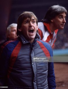 Liverpool manager Kenny Dalglish shouts instructions from the dugout as coach Roy Evans looks on behind during the Canon League Division One match between Liverpool and Chelsea at Anfield on November 1985 in Liverpool, England Kenny Dalglish, Chelsea, That Look, Liverpool England, Celtic Fc, Couple Photos, Division, Evans, Canon