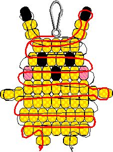 Pikachu bead buddy/pony bead animal... The only thing missing is the tail... If we made his back an extra time with a bead shorter on each row, we could add the tail and the two stripes while making him more 3D