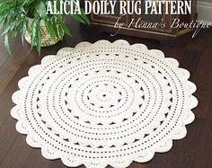 Gehäkelte Deckchen Teppich Muster EMILY 37 Zoll von hennasboutique