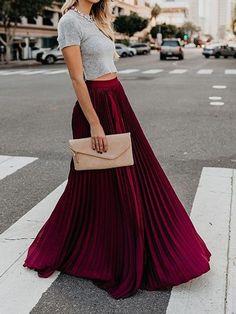 Womens Maxi Skirts, Long Maxi Skirts, Boho Skirts, Casual Skirts, Pleated Skirts, Pleated Skirt Outfit, Long Skirt Outfits, Maxis, Style Emo