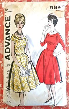 Advance 9642  Vintage 1960s Womens Flared Dress by Fragolina