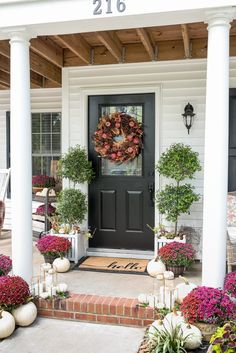 Plum and Red Mums Fall Porch - Home Stories A to Z