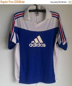 CLEARANCE SALE Vintage Adidas Blue Jersey Football by GoCruz