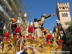 Semana Santa (Holy Week) in Sevilla. I will never forget the sound of these floats as they go by; very unexpected and very obviously still human-powered.