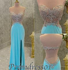 #promdress01 prom dresses - 2015 cute sweetheart sky blue lace chiffon strapless open back side slit prom dress for teens, ball gown, occasion dress #prom2015 #promdress -> www.promdress01.c... #coniefox #2016prom