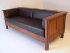 Mission Style Sofa  With Mission Arts & Crafts Stickley Style Prairie Settle Sofa Leather