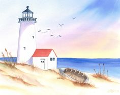 Items similar to Watercolor Painting Lighthouse Coastal Wall Art Home Decor Watercolor Beach Seascape Print on Etsy Seascape Paintings, Art Paintings, Landscape Paintings, Watercolor Paintings, House Paintings, Watercolors, Beach Watercolor, Watercolor Landscape, Beach Scene Painting