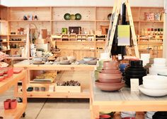 I spy some Skinny laMinx cushions and more. Pics from Heath Ceramics : San Francisco Tile Factory - The American Edit