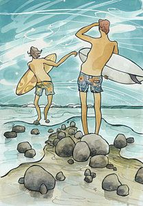 Painting - Surf Rocks by Harry Holiday