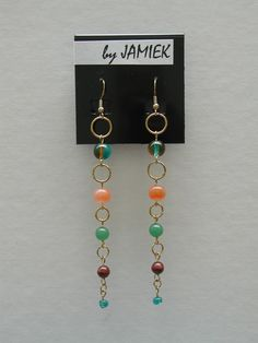 Earrings Multi Colored Beads Ring Chain in Gold Tone by rrdesigns561 on Etsy