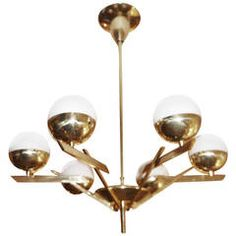Six-Arm Italian Mid-Century Chandelier
