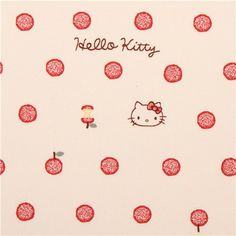 beige Hello Kitty oxford fabric apple red polka dot by Sanrio from Japan