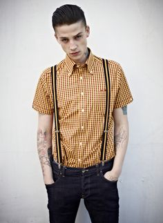 Brutus X Dr. Martens - The Brutus X Dr. Martens Trimfit shirt features classic punk tailoring that will turn any guy into a desirable rubeboy instantly. Ash Stymest, Rockabilly Men, Rockabilly Outfits, Teddy Girl, Dr. Martens, Dr Martens Style, Skinhead Fashion, Skinhead Style, Skin Head