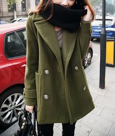 Olive Green Long Winter Jacket