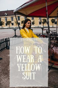 What is the best way to style a yellow suit? Would you consider wearing yellow all over? If you're thinking of wearing an elegant outfit like a yellow suit for your next special occasion, check out this post! #trends #fashion #fashiontips | thedorie.com Yellow Suit, Outfits Casual, Mein Style, Elegantes Outfit, Confident Woman, Colorful Fashion, Neue Trends, Style Guides, Color Pop