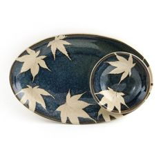 One-of-a-kind platter with dip bowl. Impressed maple leaves.