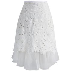 Chicwish Floral Revival Crochet Fill Hem Skirt in White ($42) ❤ liked on Polyvore featuring skirts, white, floral knee length skirt, eyelet skirt, peplum skirt, floral print skirt and floral crochet skirt