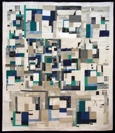 """Quilts from Korea - 2012 Work I by Jae-Young Eom. Quilter's Statement: """"Freely configured the quilt by lines and surfaces. Machine piecing, machine quilting, cotton, hand dye fabric""""."""