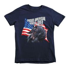 Proud American Horse Lover Short sleeve kids t-shirt