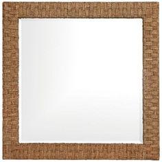 "Howard Elliott 35"" Square Woven Seagrass Wall Mirror | LampsPlus.com"