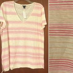 Ann Taylor   Linen Blend Top NWT This 59% Linen / 24% Cotton  / 17% Modal top is a closet essential for your Spring and Summer wardrobe! V-neck. Fits true to size. Various shades of pink and tan horizontal stripes on an natural colored background.  Trades PayPal  Modeling  Holds Ask questions before purchasing. Pet/Smoke free home. Layout courtesy of Polyvore. Ann Taylor Tops Tees - Short Sleeve
