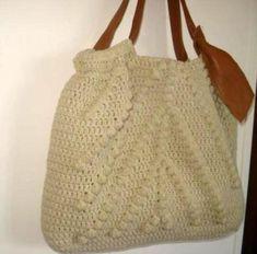 borsa crochet manici in nappa borsa crochet panna/ecrù cotone,pelle,fodera di cotone millerig crochet uncinetto