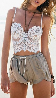 7fda9cb0364771 50 of the Trendiest Spring 2017 Boho Chic Outfits - Bohemian Style    Fashion. White Lace Tank TopSheer ...
