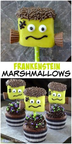 Dipping marshmallows in green candy melts and adding googly eyes and mini Reese's makes the cutest Frankenstein.