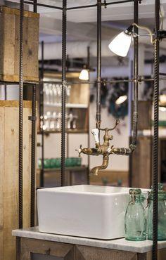 Butler/ Belfast sink with exposed plumbing, Bathroom Whyte & Brown — Soho, London Industrial Living, Industrial Style, Cafe Interior, Home Interior Design, Browns Restaurant, Café Bistro, Restaurant Bathroom, Butler Sink, Bathroom Toilets