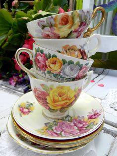 4 MISMATCHED Teacups and Saucers - Mixed Makers - Orphans - Bulk Teacups 10461
