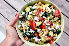 Summer quinoa salad with spinach, cucumber, tomato, chickpeas, corn, olive oil, lemon juice and feta cheese :)