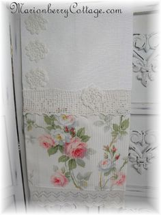 Vintage Damask 3/4 towel Romantic cottage roses